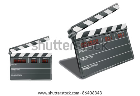 Two clapper boards: two-dimensional and three-dimensional. Vector illustration