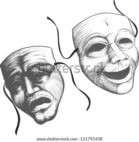 Two classic theater masks a sad and joyous, comedy and tragedy - stock vector