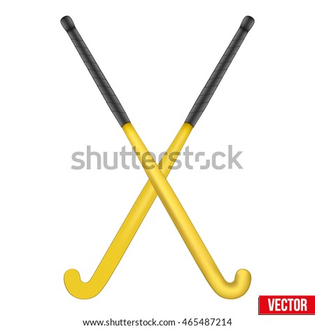 Two classic yellow sticks for field hockey. View from different sides. Sport Equipment. Editable Vector illustration Isolated on white background.