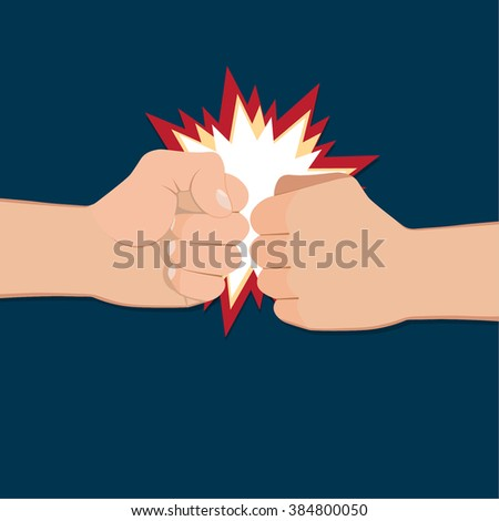 Two clenched fists in air punching. Vector illustration with two hands. Concept of aggression and violence. War conflict - stock vector