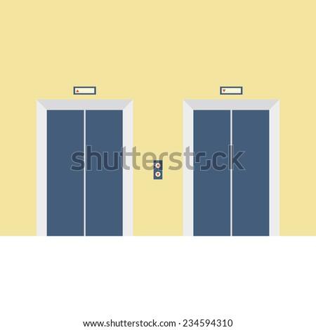 Two Closed Doors Elevator Vector Illustration - stock vector