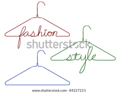 Two coat hangers with messages and a plain one - stock vector