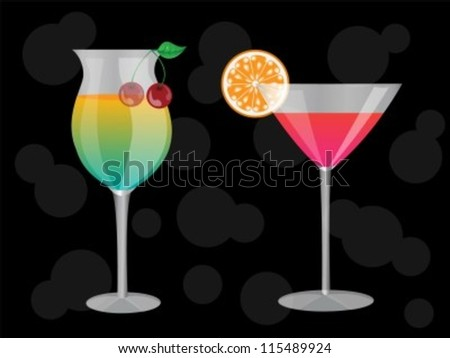 two cocktails at the grocery decorated with a slice of orange and a cherry on a black background - stock vector