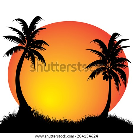 two coconut palm trees with the moon in the background - stock vector