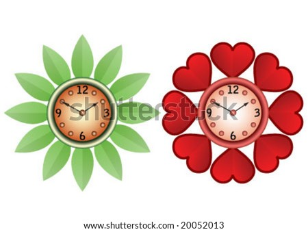 Two color and same design wall clock - stock vector
