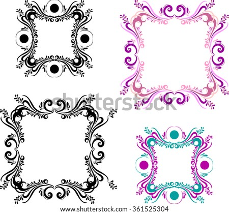 Two color and two black and white vintage picture frame. Ornate square frames for photo in vector - stock vector
