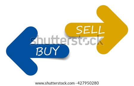 Two color arrows with text buy and sell