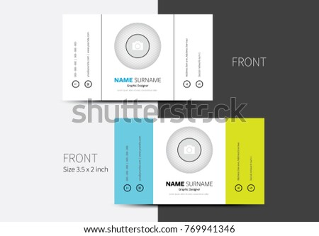 Two color business card vector vertically stock vector 769941346 two color business card vector with vertically positioned contact info and place for profile photo in reheart Choice Image