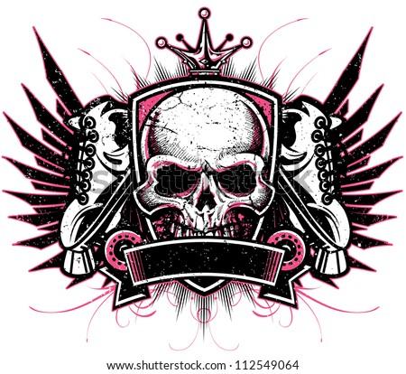 Two color grunge vector roller derby crest design with crown, skull, roller skates, crest, blank banner and elegant flourish design elements. - stock vector
