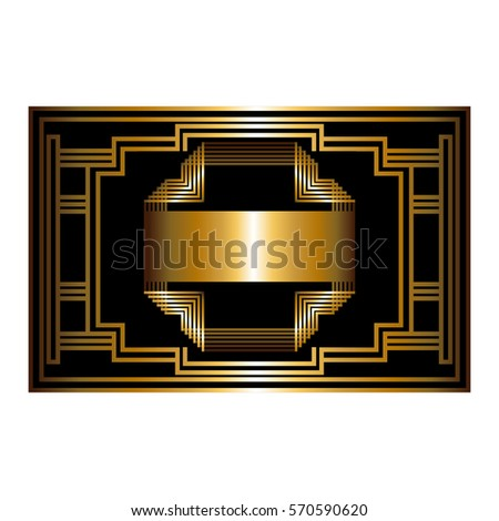 Two-color pattern with art deco frame