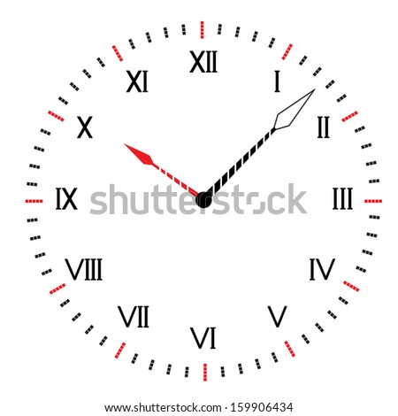 Two-color round clock. Abstract vector illustration.