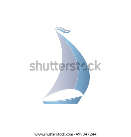 Two-colored boat with sails on a white background