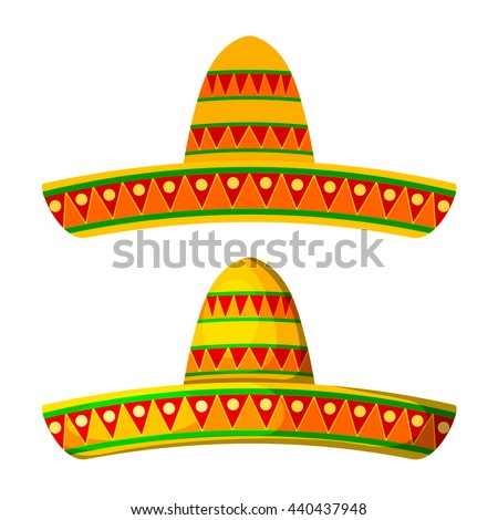 Two Colored Cartoon sombrero on a white background. Isolate. Wide-brimmed hat - element of the national Mexican clothing. Stock vector