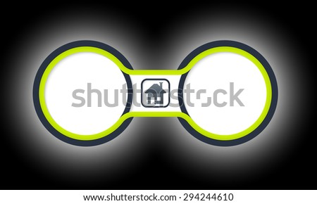 Two colored circular frames for your text and home symbol - stock vector
