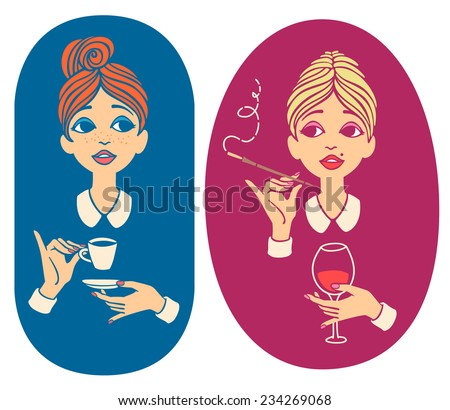 Two colored vintage portraits - young red haired woman drinking coffee and young blonde woman drinking wine - for cafe menu, fliers or signboard - stock vector