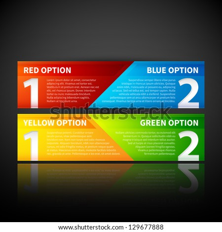 Two colorful banners, combining two options or two points of view. - stock vector