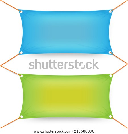 Two colorful blue and green rectangular textile banners  - stock vector