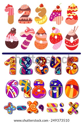 Two colorful sets of vector numbers or digits, one decorated as cakes for a kids birthday party and the second with geometric patterns including maths icons for calculation - stock vector