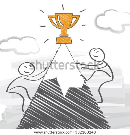 Two competitors run a race - vector illustration - stock vector