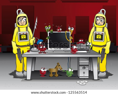 Two computer administrators are trying to combat different kinds of computer viruses - stock vector
