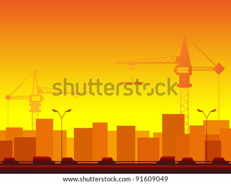 two construction crane in yellow background with transport and many skyscraper - stock vector