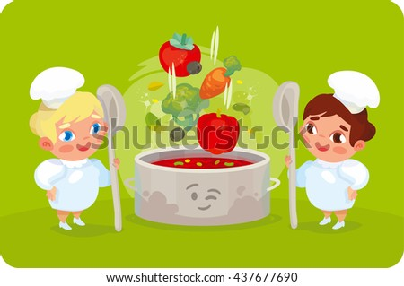 Two cooks mixed ingredients for a summer soup. Recipe vegetable Soup.  Useful soup vegetables. The composition of vegetable soup. The ingredients of vegetable soup.  - stock vector