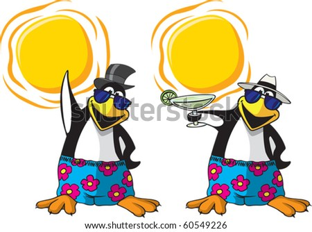 Two cool cartoon Penguins. One has a drink and one is waving. Layered vector  file available. Penguins, hats, glasses, and suns are all on separate layers.