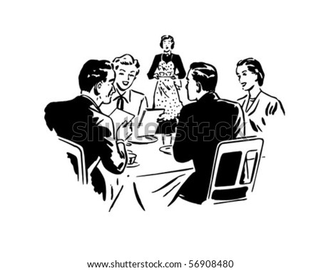 Two Couples Dining - Retro Clip Art - stock vector