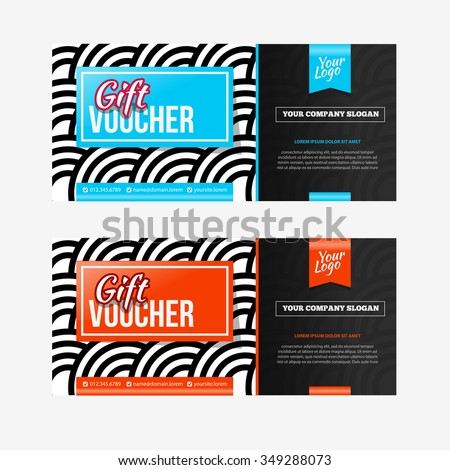 Two Coupon Vouchers Design. Gift Voucher Template With Amount Of Discount  And Contact Information.  Discount Voucher Design