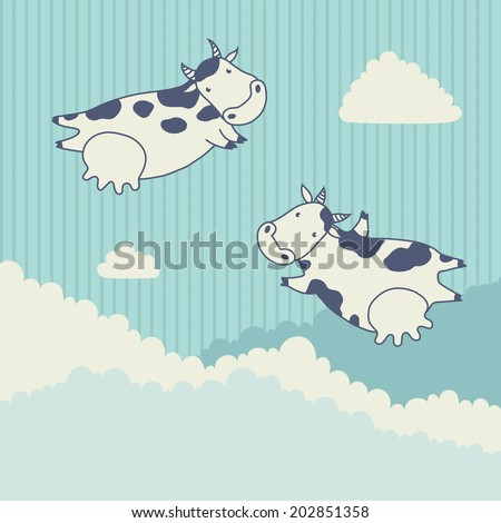Two cows flying in the sky with clouds. Vector illustration - stock vector
