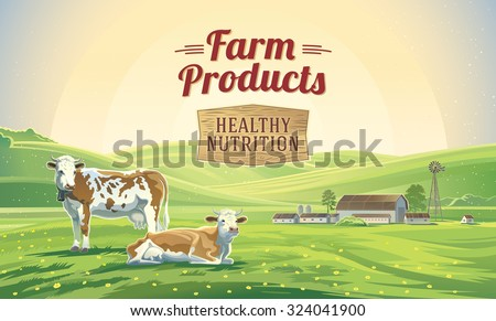 Two cows in a landscape and a farm.