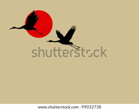 two cranes on brown background, vector illustration - stock vector
