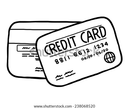 two credit card cartoon vector illustration stock vector royalty