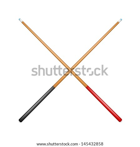 Two crossed billiard cues - stock vector