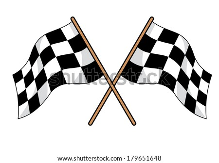 Two crossed black and white checkered flags logo used in motor sport to signal in the winner and all finishers at a race - stock vector