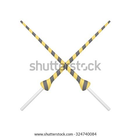 Two crossed lances in orange and black design  - stock vector