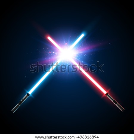 Two Crossed Light Swords Fight. Blue and Red Crossing Lasers. Design Elements for Your Projects. Vector illustration.