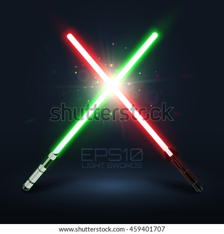 Two crossed light swords. Green and red lasers. Design elements for your projects. Vector illustration.