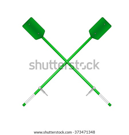 Two crossed old oars in green design