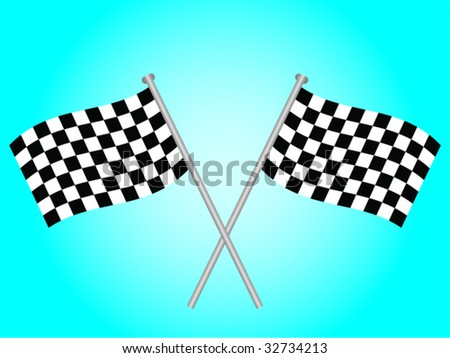 Two crossed over chequered flags on a blue background - stock vector