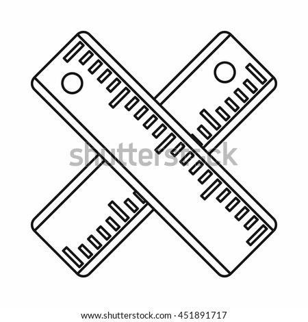 Two crossed rulers icon in outline style isolated vector illustration