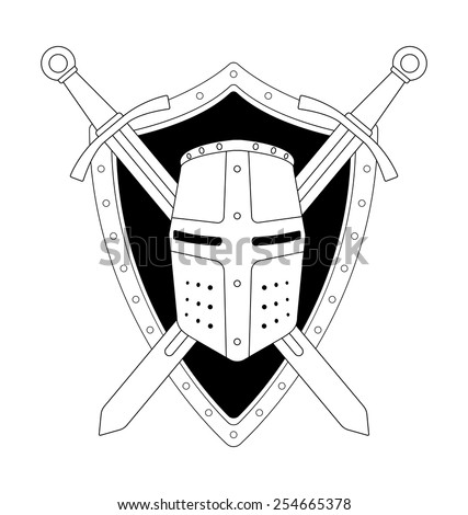 Two crossed swords shield and helmet heraldry emblem. Security logo. Clip art contour lines vector illustration isolated on white - stock vector
