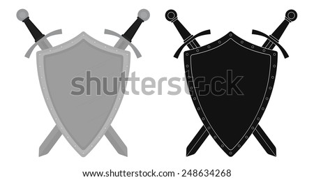 Two crossed swords steel shield heraldry emblem. Security logo. Clip art color and silhouette  vector illustration isolated on white - stock vector