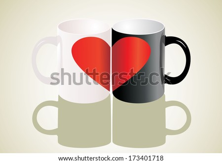 Two cup, one heart. Love concept. - stock vector