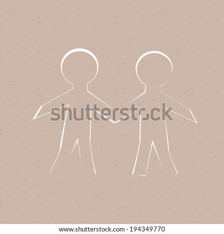 Two cut out of paper human, grunge background. - stock vector