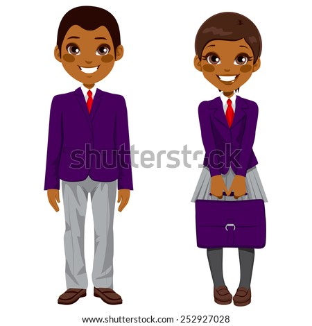 Two cute African American teenage students standing together with uniform and holding suitcase - stock vector