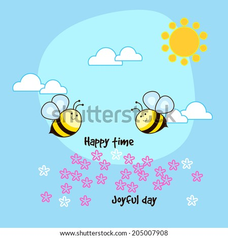 Two cute bees flying around flowers