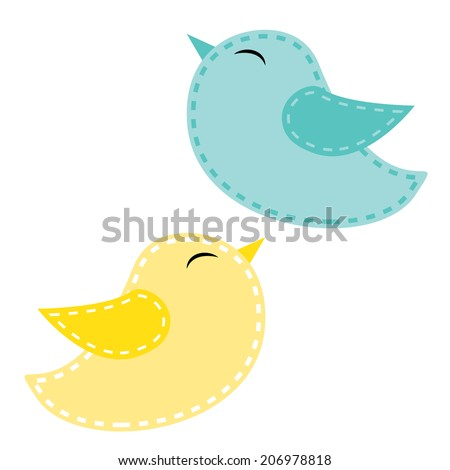Two cute birds, blue and yellow on a transparent background, for scrapbooking or clip art, vector format. - stock vector