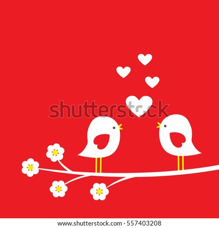 Two cute birds on blooming branch - card for Valentine day. Vector illustration