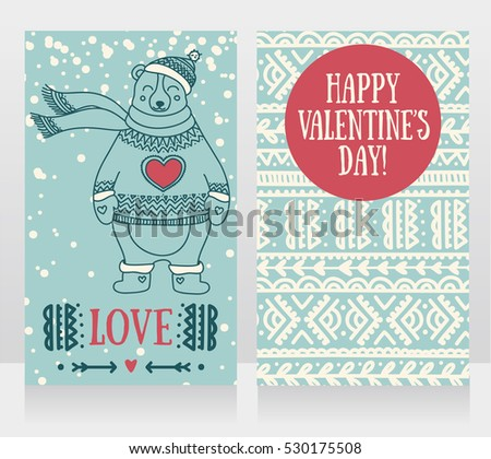 two cute cards for valentine's day with smiling bear, vector illustration